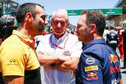 Cyril Abiteboul, directeur Renault Sport F1 Team, Helmut Markko, adviseur Red Bull Racing, Christian Horner, teambaas Red Bull Racing