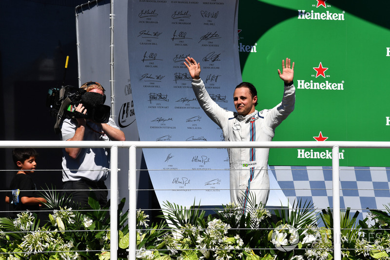 Felipe Massa, Williams celebra su última carrera brasileña en el podio
