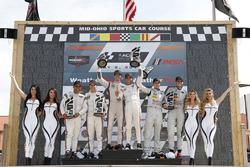 Podium: race winners Helio Castroneves, Ricky Taylor, Acura Team Penske, second place Dane Cameron, Juan Pablo Montoya, Acura Team Penske, third place Oliver Jarvis, Tristan Nunez, Mazda Team Joest