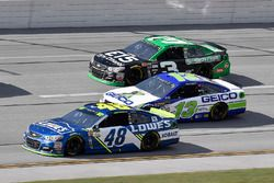 Jimmie Johnson, Hendrick Motorsports Chevrolet, Ty Dillon, Germain Racing Chevrolet, and Austin Dill