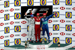 Podium: second place Kimi Raikkonen, McLaren, Race winner Michael Schumacher, Ferrari, third place H