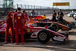 Ferrari mechanics with Ferrari SF70H