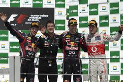 Podium: second place Sebastian Vettel, Red Bull Racing, Will Courtney, Strategist, Race winner Red Bull, Mark Webber, Red Bull Racing, third place Jenson Button, McLaren