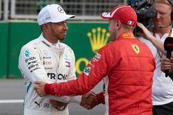 Lewis Hamilton, Mercedes AMG F1, congratulates Sebastian Vettel, Ferrari, on pole after Qualifying