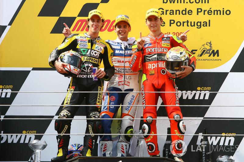2007: 250cc (Moto2), Campeão - Jorge Lorenzo - Fortuna Aprilia; Andrea Dovizioso e Álvaro Bautista