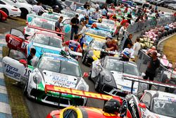 Cars at pre start area