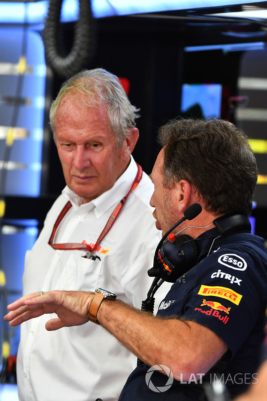 Dr Helmut Marko, Red Bull Motorsport Consultant and Christian Horner, Red Bull Racing Team Principal