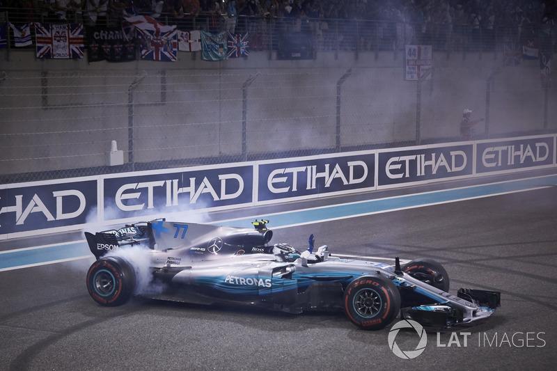 Bottas and Mercedes celebrate wins