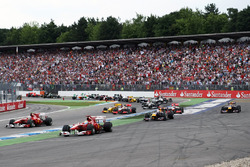 Felipe Massa, Ferrari F10 runs wide and takes the lead at the start of the race