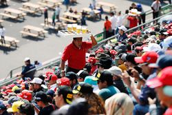A beer vendor in the grandstand