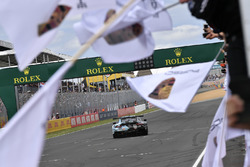 #77 Proton Competition Porsche 911 RSR: Christian Ried, Julien Andlauer, Matt Campbell celebrate the win