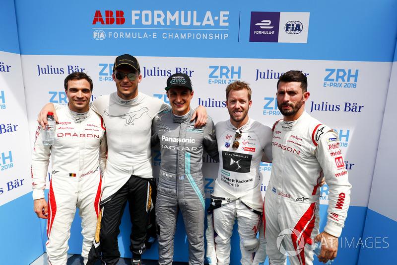 Superpole group of Jérôme d'Ambrosio, Dragon Racing, Andre Lotterer, Techeetah, Mitch Evans, Jaguar