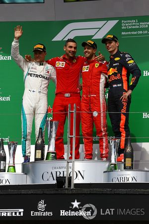 Valtteri Bottas, Mercedes-AMG F1, Sebastian Vettel, Ferrari and Max Verstappen, Red Bull Racing celebrate on the podium