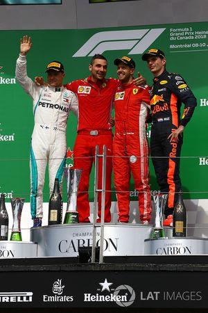 Valtteri Bottas, Mercedes-AMG F1, Sebastian Vettel, Ferrari et Max Verstappen, Red Bull Racing sur le podium