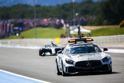The Safety Car leads Lewis Hamilton, Mercedes AMG F1 W09