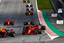 Max Verstappen, Red Bull Racing RB14, Kimi Raikkonen, Ferrari SF71H, Daniel Ricciardo, Red Bull Racing RB14, Romain Grosjean, Haas F1 Team VF-18, Kevin Magnussen, Haas F1 Team VF-18, Sebastian Vettel, Ferrari SF71H
