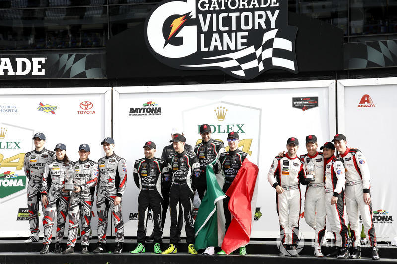 Podium GTD: Winners #11 GRT Grasser Racing Team Lamborghini Huracan GT3: Rolf Ineichen, Mirko Bortolotti, Franck Perera, Rik Breukers, second place #86 Michael Shank Racing Acura NSX: Katherine Legge, Alvaro Parente, Trent Hindman, A.J. Allmendinger, third