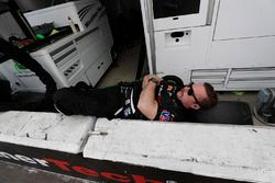 Sleeping crew #63 Scuderia Corsa Ferrari 488 GT3, GTD: Cooper MacNeil, Alessandro Balzan, Gunnar Jeannette, Jeff Segal