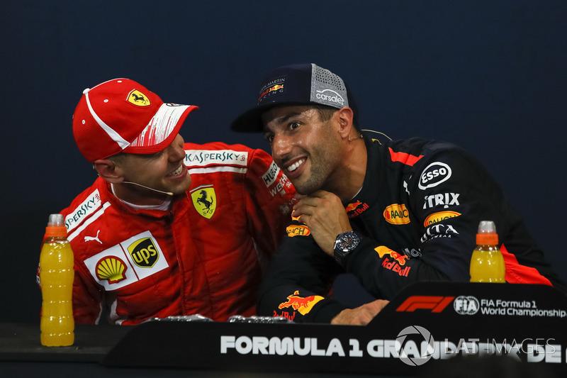 Sebastian Vettel, Ferrari and Daniel Ricciardo, Red Bull Racing nella conferenza stampa