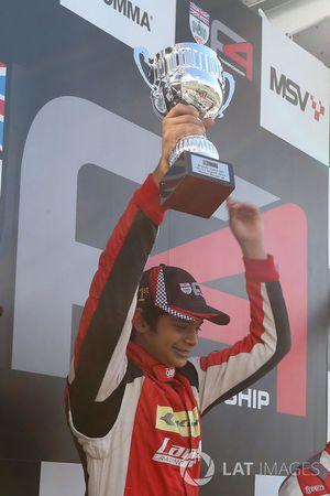 Race 3 podium: race winner Arjun Maini, Lanan Racing