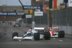 Jean Alesi, Tyrrell 018 Ford leads Ayrton Senna, Mclaren MP4/5B Honda