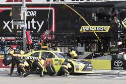 Brandon Jones, Joe Gibbs Racing, Toyota Camry Menards, makes a pit stop
