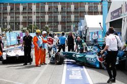 Antonio Felix da Costa, Andretti Formula E Team, crashes into Jose Maria Lopez, Dragon Racing, in the pit lane