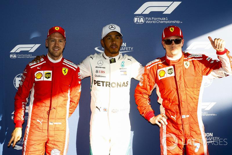 Start P1-P3: 1. Lewis Hamilton, Mercedes AMG F1, 2. Kimi Raikkonen, Ferrari, 3. Sebastian Vettel, Ferrari