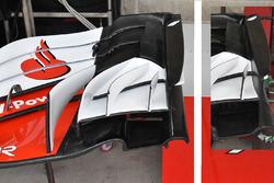 Comparaison de l'aileron avant de la Ferrari SF71H avec Austin 2017