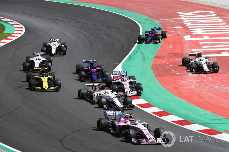 Sergio Perez, Force India VJM11, Charles Leclerc, Sauber C37, Sergio Perez, Force India VJM11, Nico Hulkenberg, Renault Sport F1 Team R.S. 18, Brendon Hartley, Toro Rosso STR13, Lance Stroll, Williams FW41, Sergey Sirotkin, Williams FW41, as Marcus Ericsso