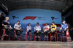 Bob Fernley, Deputy Team Principal, Force India, Guenther Steiner, Team Principal, Haas F1, Claire Williams, Deputy Team Principal, Williams Martini Racing, Eric Boullier, Racing Director, McLaren, Frederic Vasseur, Team Principal, Sauber, Cyril Abiteboul, Managing Director, Renault Sport F1 Team, and Franz Tost, Team Principal, Toro Rosso, on stage