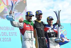 Jean-Eric Vergne, Techeetah, festeggia con Lucas di Grassi, Audi Sport ABT Schaeffler, Sam Bird, DS Virgin Racing, sul podio