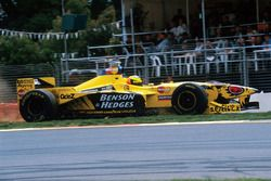 Ralf Schumacher, Jordan Mugen Honda 198 runs through the gravel trap