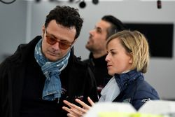 Susie Wolff, founder of Dare to be Different, with Giuldo Pastor, President of Venturi Formula E team in the pits
