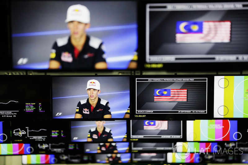 Pierre Gasly, Scuderia Toro Rosso, is pictured on televison screens in the media centre