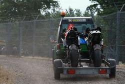 Le moto incidentate di Andrea Dovizioso, Ducati Team e Jonas Folger, Monster Yamaha Tech 3