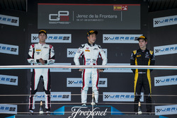 Podium: George Russell, ART Grand Prix, Nirei Fukuzumi, ART Grand Prix, Jack Aitken, ART Grand Prix