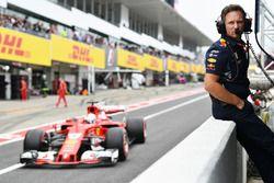 Christian Horner, Red Bull Racing Team Principal and Sebastian Vettel, Ferrari SF70H