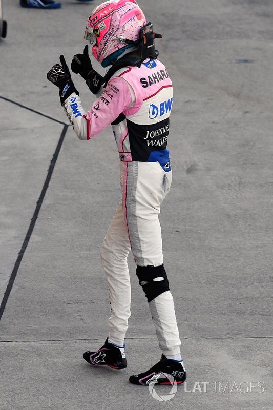 Esteban Ocon, Sahara Force India F1 celebra
