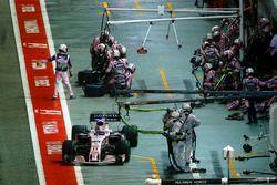 Sergio Perez, Sahara Force India F1 VJM10, leaves his pit box
