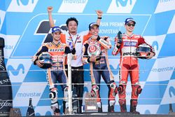 Podium: Race winner Marc Marquez, Repsol Honda Team, second place Dani Pedrosa, Repsol Honda Team, third place Jorge Lorenzo, Ducati Team