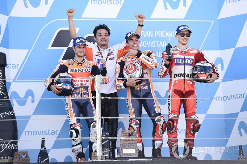 Le podium du GP d'Aragón 2017 : Marc Márquez, Dani Pedrosa, Jorge Lorenzo