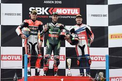 Podium: winner Jonathan Rea, Kawasaki Racing, second place Chaz Davies, Ducati Team, third place Nic