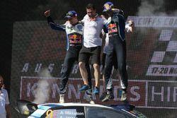 Podium: winners Andreas Mikkelsen, Anders Jäger, Volkswagen Polo WRC, Volkswagen Motorsport