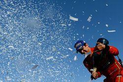 Lucas di Grassi, ABT Schaeffler Audi Sport, sprays the champagne on the podium