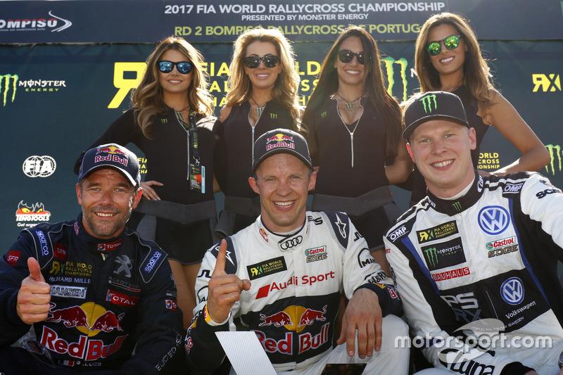 Podium : le vainqueur Mattias Ekström, EKS, Audi S1 EKS RX Quattro, le deuxième Sebastien Loeb, Team Peugeot-Hansen, Peugeot 208 WRX, le troisième Johan Kristoffersson, PSRX Volkswagen Sweden, VW Polo GTi