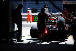 Kevin Magnussen, Haas F1 Team VF-17, is returned to the Haas F1 Team garage