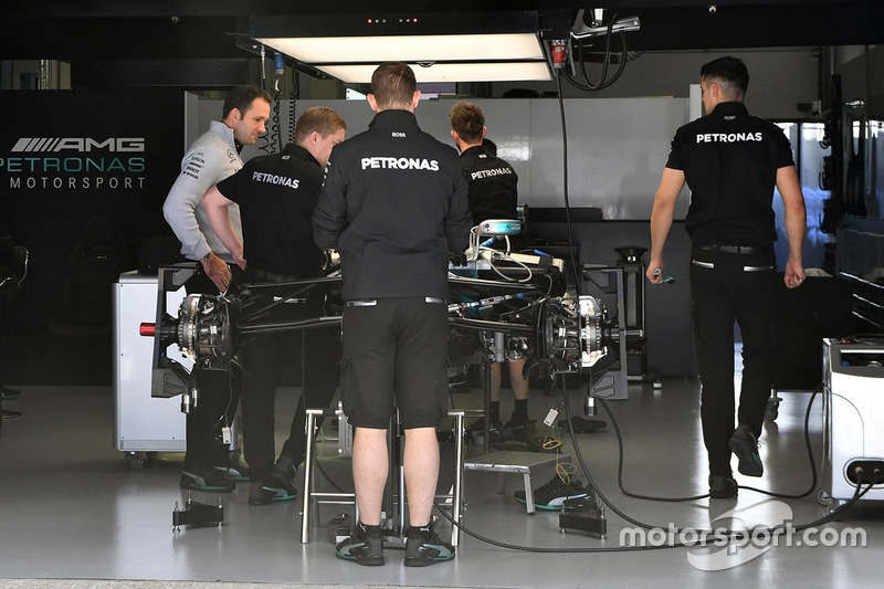 Mercedes AMG F1 F1 W08  in the garage