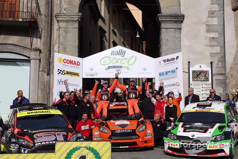 Simone Campedelli, Pietro Ometto Ford Fiesta R5, Orange1 Racing, festeggiano sul podio