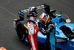 Sébastien Buemi, Renault e.Dams, with Nick Heidfeld, Mahindra Racing